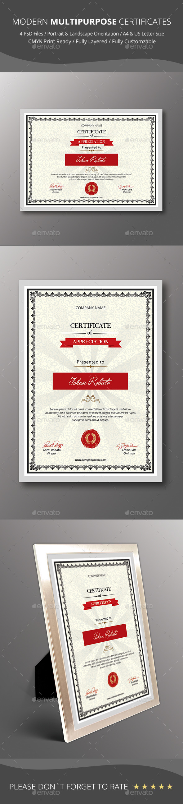 GraphicRiver Modern Multipurpose Certificates 9376759