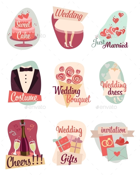 GraphicRiver Wedding Flat Icons 9665625