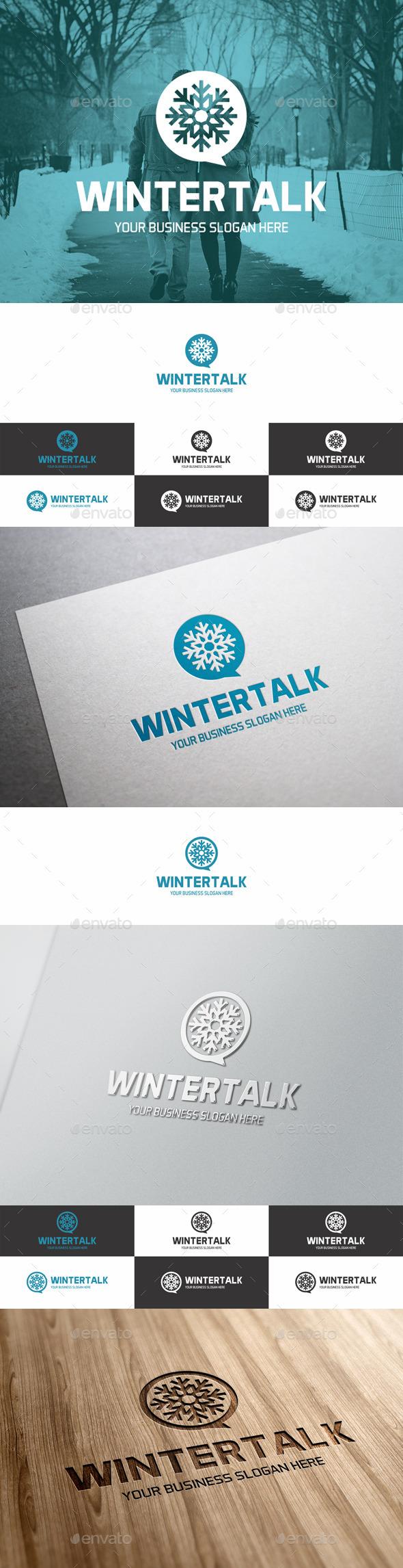 GraphicRiver Winter Talk Snowflake Logo 9666117