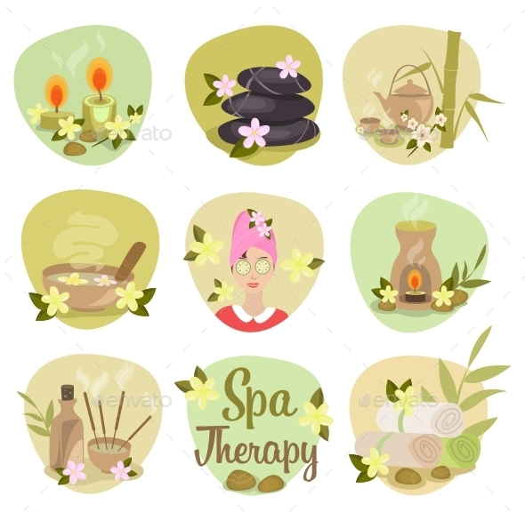 GraphicRiver Spa Flat Icons 9666123