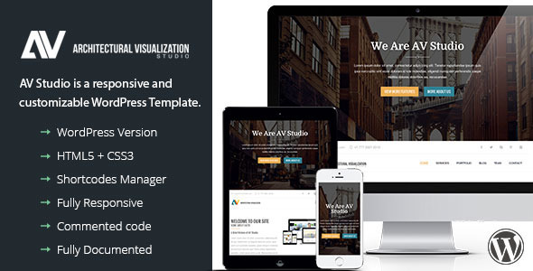 ThemeForest AV Studio One Page WordPress Theme 9532884