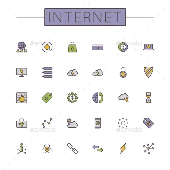 GraphicRiver Vector Colored Internet Line Icons 9667356