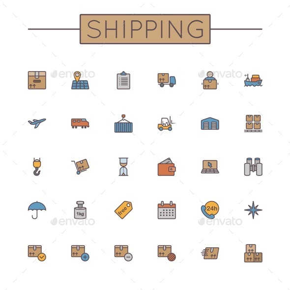 GraphicRiver Vector Colored Shipping Line Icons 9667381