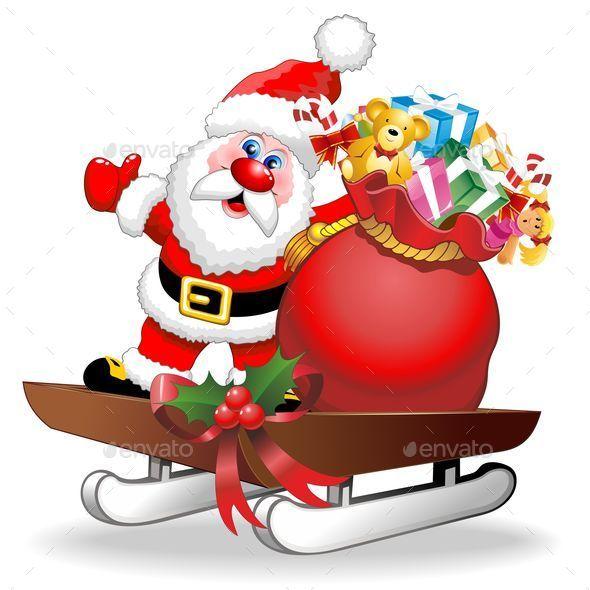GraphicRiver Santa Cartoon and Gifts on Christmas Sleigh 9667417