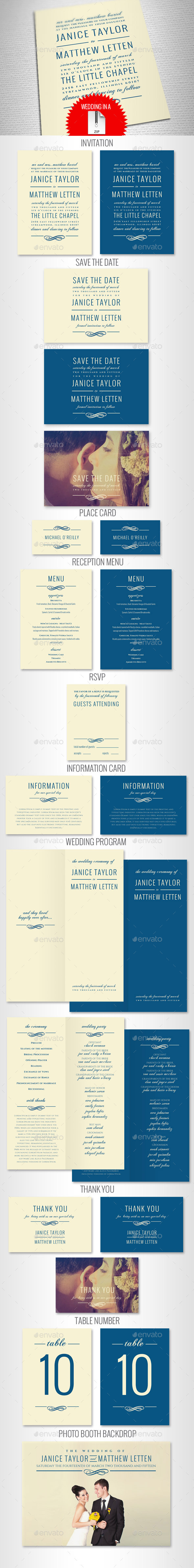GraphicRiver Elegant Wedding Invitation Set 9668780