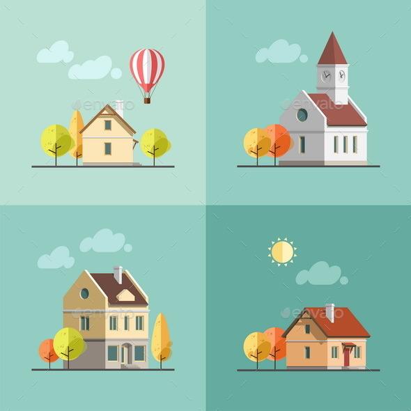 GraphicRiver Urban Landscape Set of Buildings 9668822