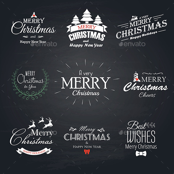 GraphicRiver Christmas Labels Set 9669117