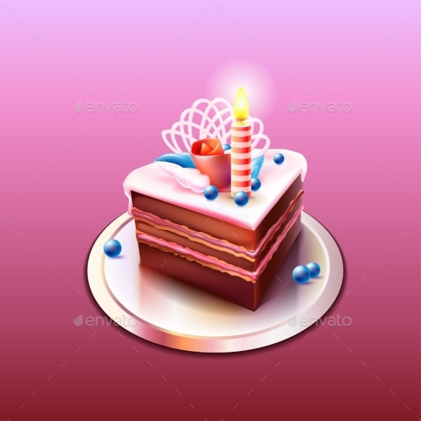 GraphicRiver Chocolate Cake with Candle 9669249