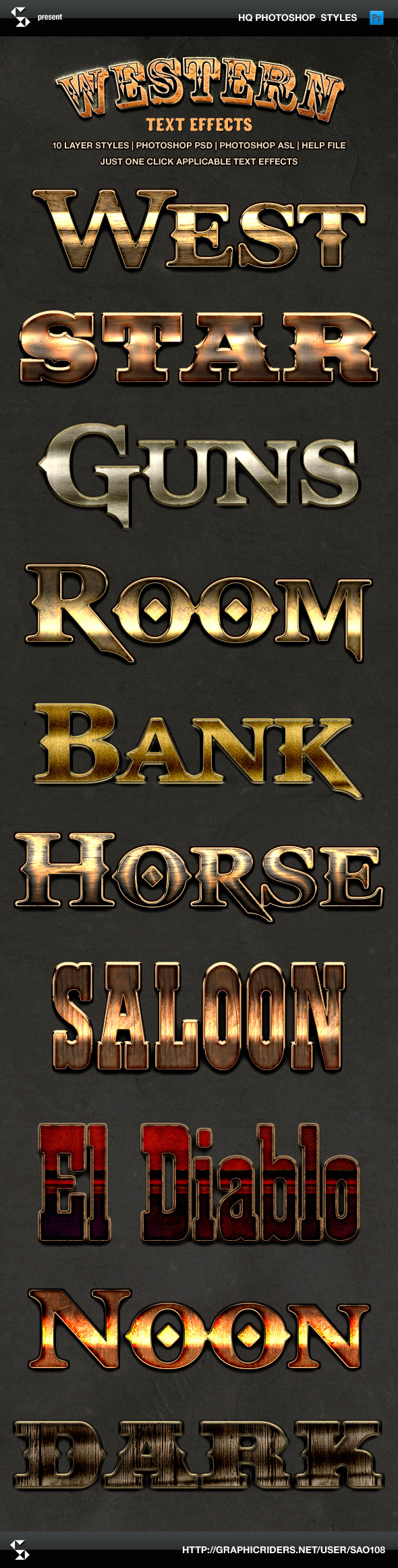 Wild West Style Text Effects Western Styles