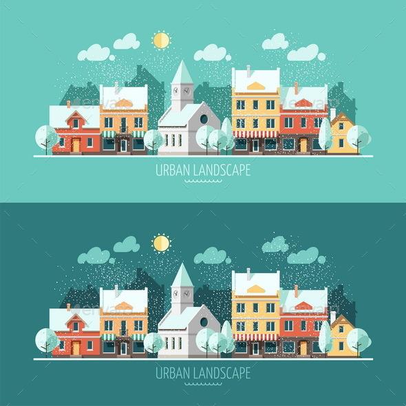 GraphicRiver Winter Urban Landscape 9669548