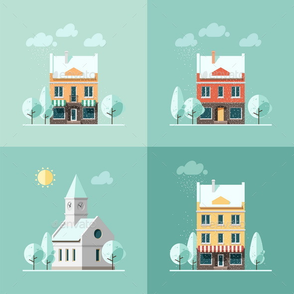 GraphicRiver Winter Houses 9669565