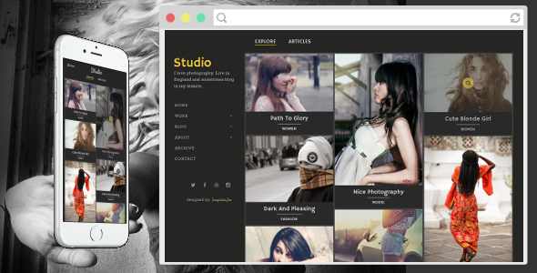 ThemeForest Studio Photography Blogger Template 9669645