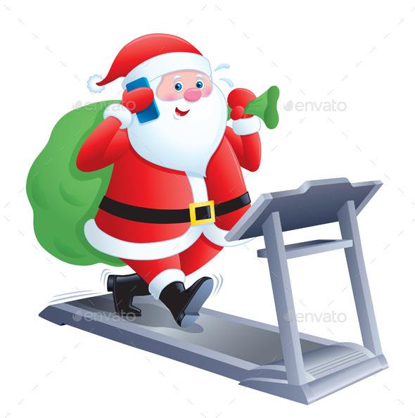 GraphicRiver Santa Walking on a Treadmill 9669800