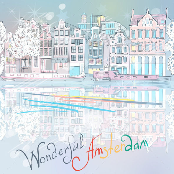 GraphicRiver Christmas Amsterdam Canal and Typical House 9670192