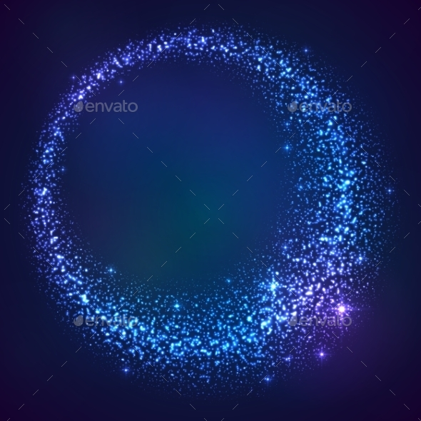 GraphicRiver Blue Shining Glitter Star Dust Frame 9670371