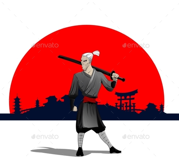 GraphicRiver Samurai with Sword 9670439