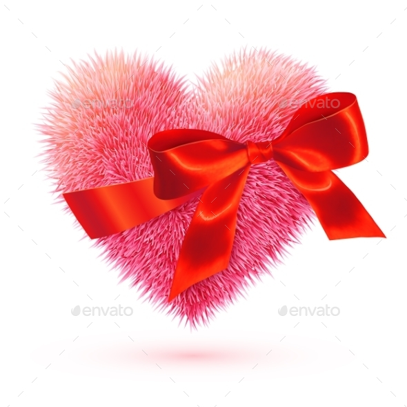 GraphicRiver Pink Fluffy Heart with Red Bow 9670469