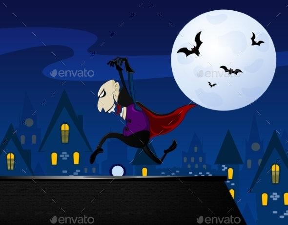 GraphicRiver Vampire Sneaking up on the Roof 9670576
