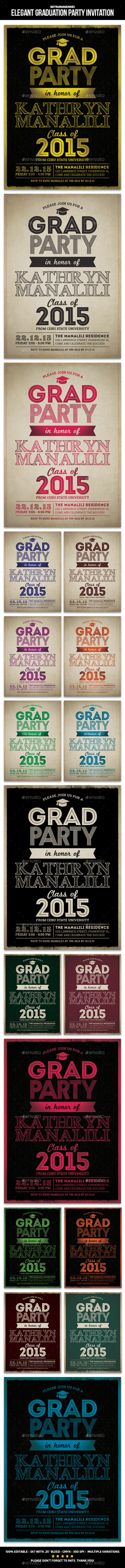 GraphicRiver Elegant Graduation Party Invitation 9670764