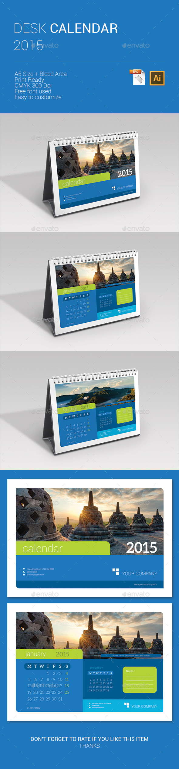 GraphicRiver Desk Calendar 2015 9670840