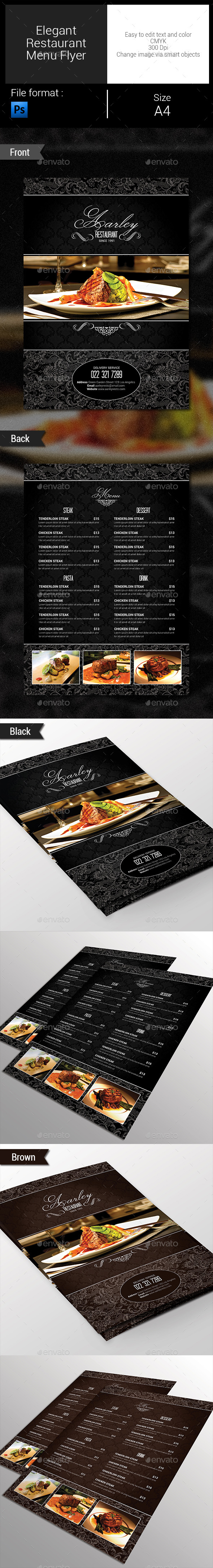GraphicRiver Elegant Restaurant Menu Flyer 9671212
