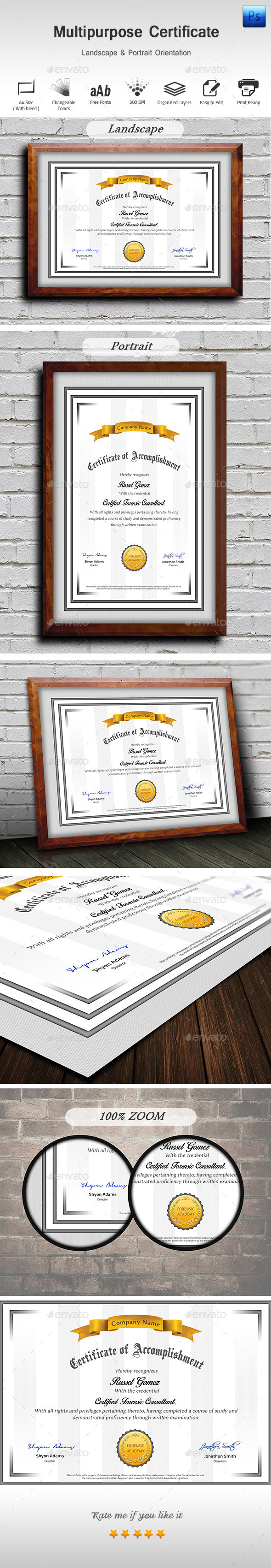 GraphicRiver Multipurpose Certificate 9562333