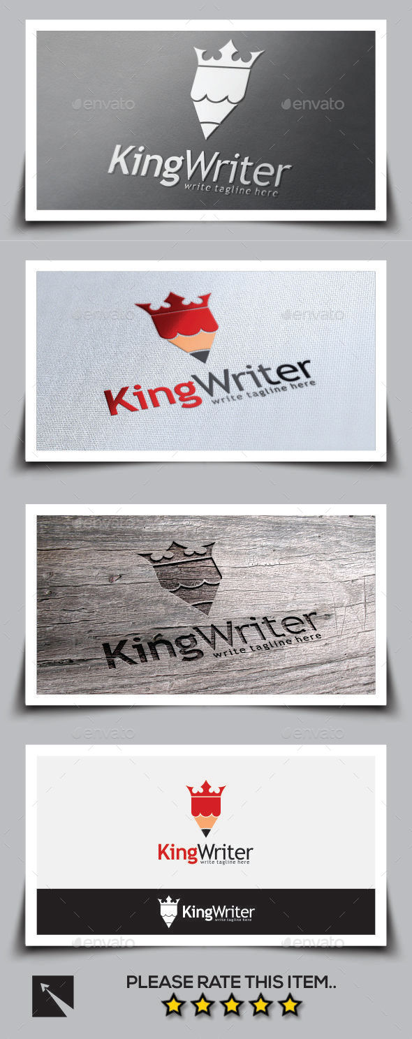 GraphicRiver King Writer Pencil Logo Template 9671521