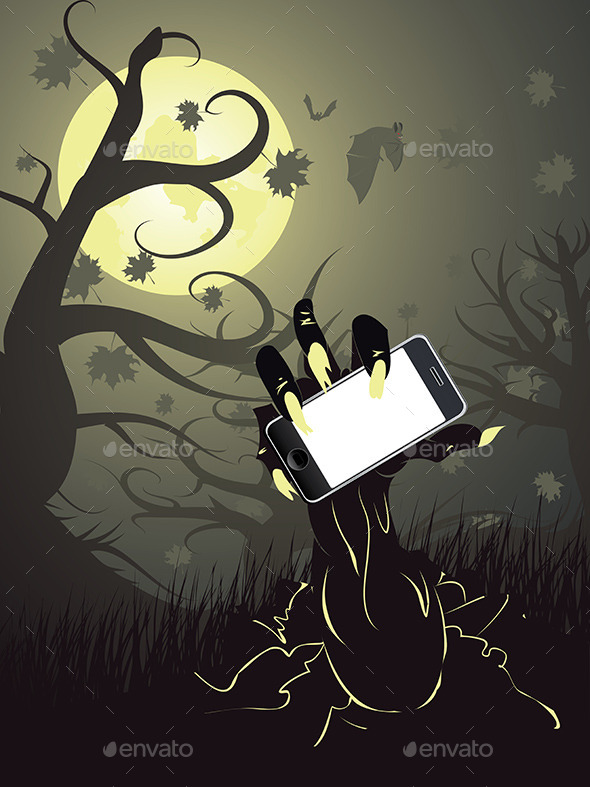 GraphicRiver Zombie Hand with Phone 9671589