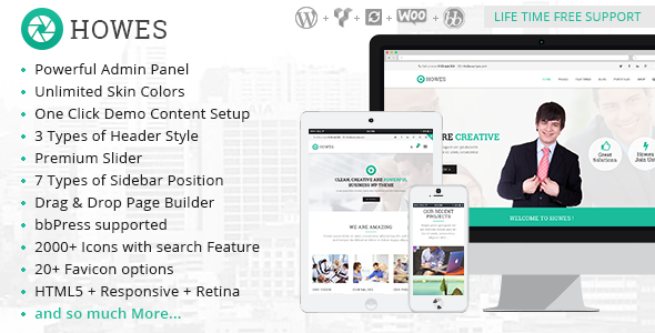 ThemeForest Howes Responsive Multi-Purpose WordPress Theme 9616552