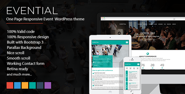 ThemeForest Evential One Page Responsive Event WordPress Theme 9472007
