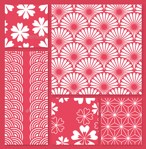 Vector Set of Five Oriental Seamless Patterns