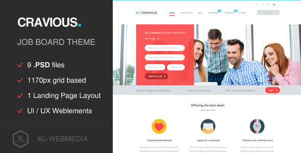 ThemeForest Cravious Job Portal PSD Template 9673094