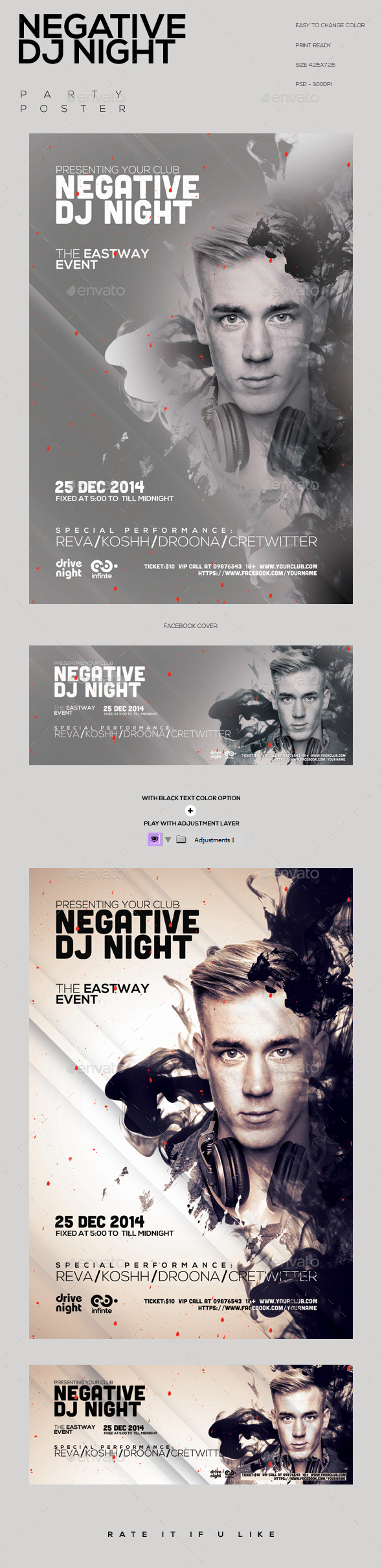 GraphicRiver Negative Dj Night Party Flyer 9673297