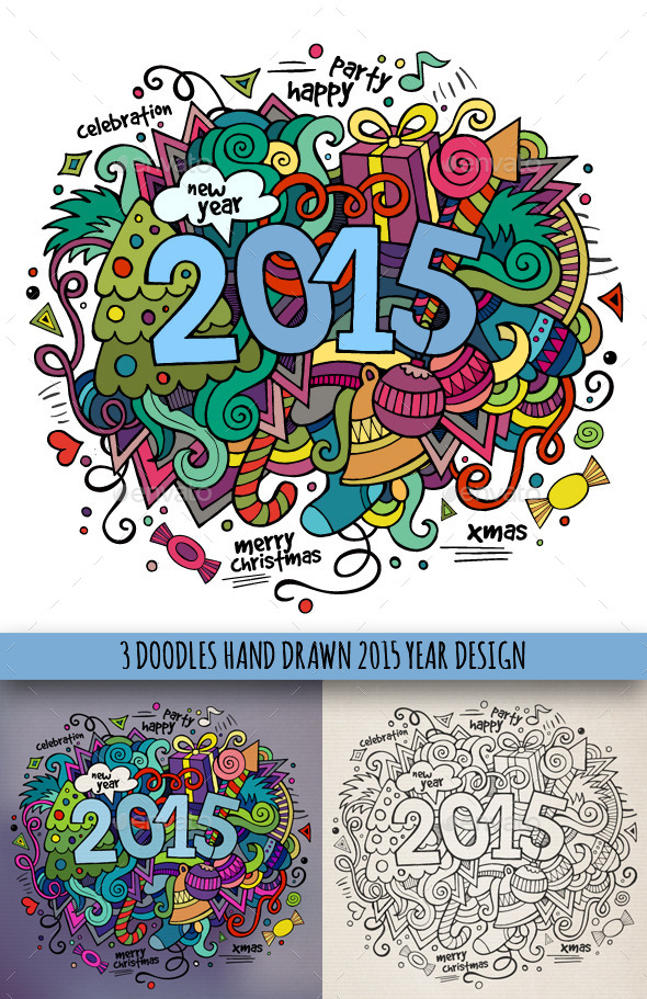 GraphicRiver 2015 Year Doodles Designs 9673478
