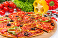 Pizza with tomatoes, peppers and olives - PhotoDune Item for Sale