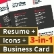 3-in-1 Deal: Resume Template + Icons + Business Card, Stylish W Template - GraphicRiver Item for Sale