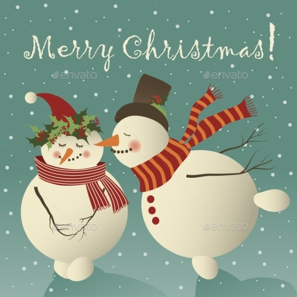GraphicRiver Snowman in love 9673731