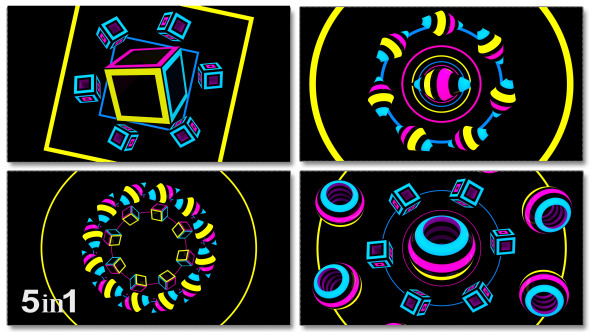 VideoHive Colorful GeometryTunnel 5-Pack 9673751