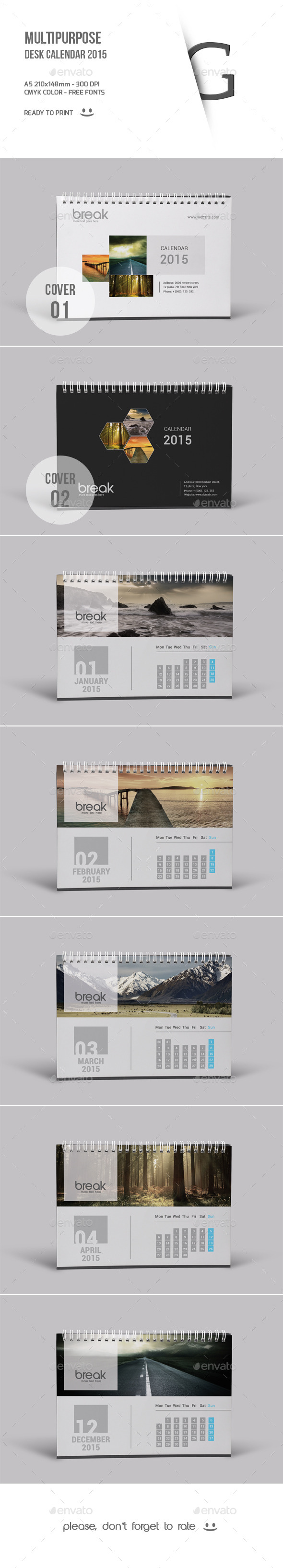 GraphicRiver Multipurpose Desk Calendar 2015 9673918
