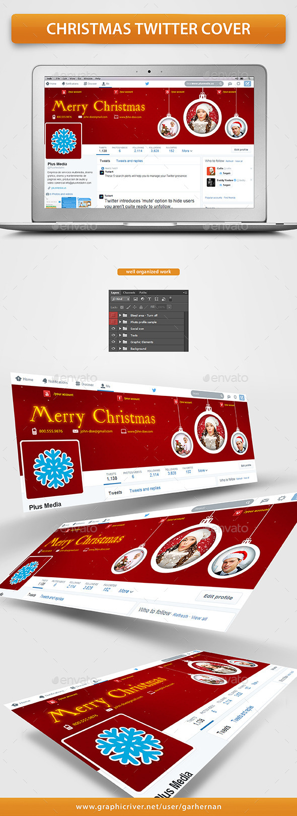 GraphicRiver Christmas Twitter Cover 9673922