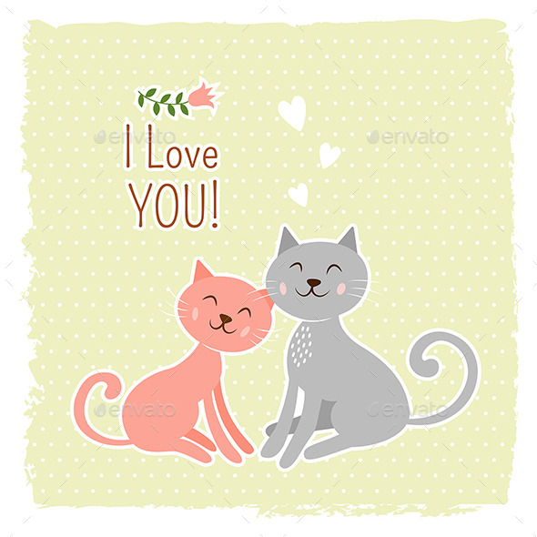 GraphicRiver Cats Valentine Card 9674093