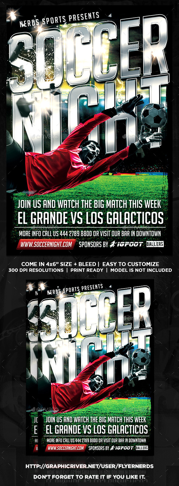 GraphicRiver Soccer Night Sport Flyer 9675152