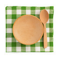 wooden plate at checked napkin - PhotoDune Item for Sale