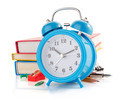 alarm clock and school supplies  on white - PhotoDune Item for Sale