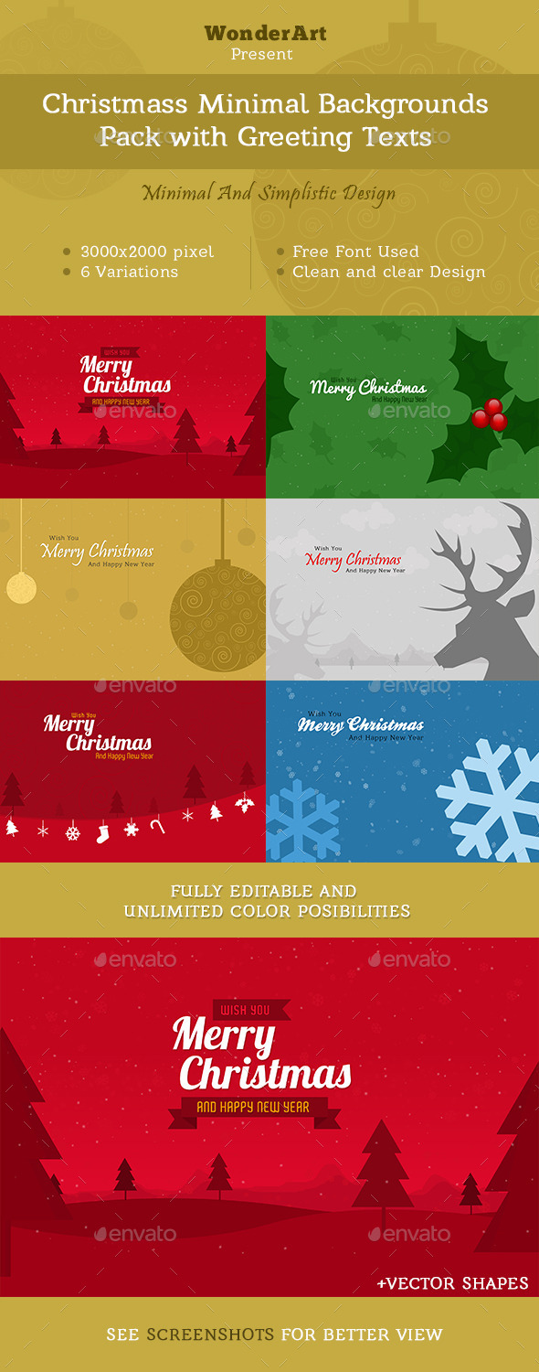 GraphicRiver Christmas Minimal Backgrounds With Wish Text 9675928