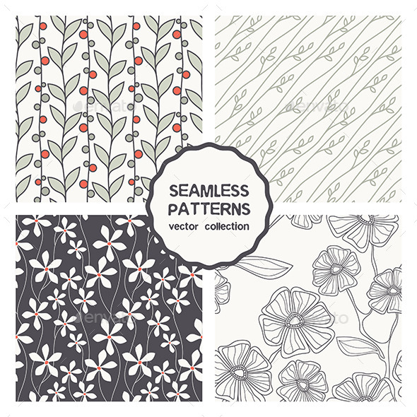 GraphicRiver Set of Four Floral Seamless Patterns 9677084