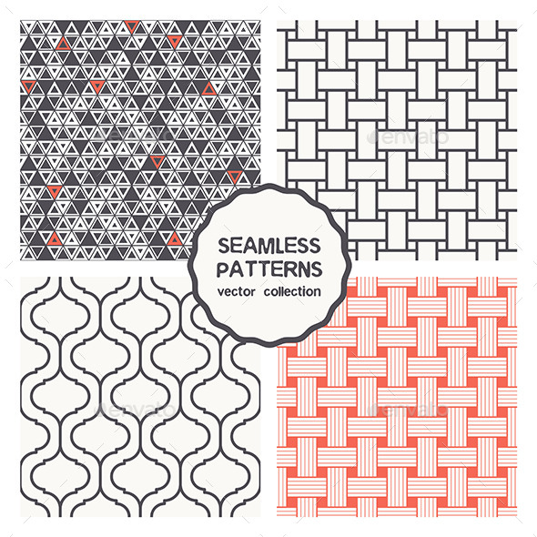 GraphicRiver Vector Set of Four Geometric Seamless Patterns 9677248