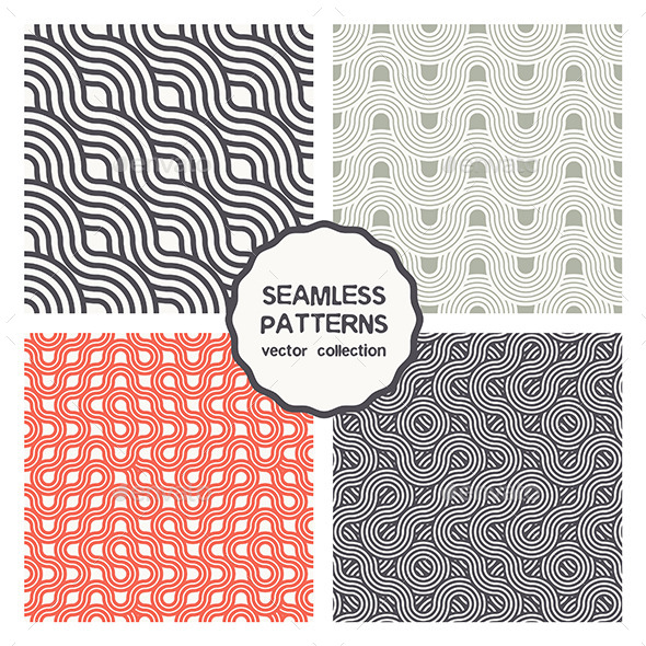 GraphicRiver Vector Set of Four Geometric Seamless Patterns 9677368
