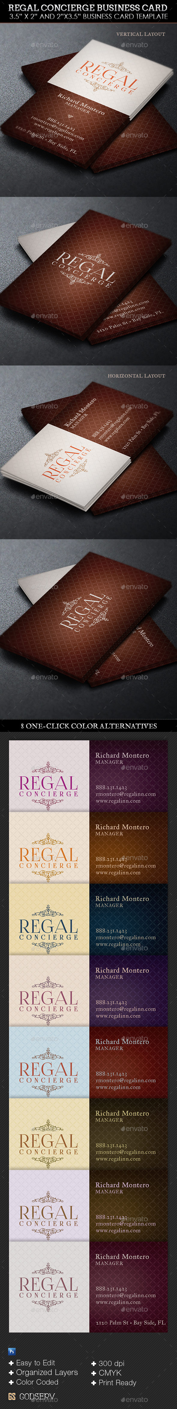 GraphicRiver Regal Concierge Business Card Template 9677420