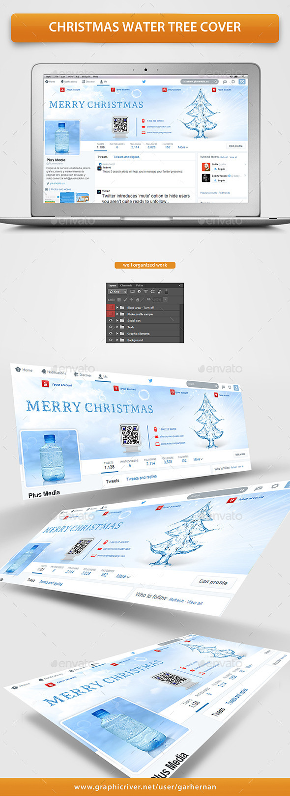 GraphicRiver Christmas Water Tree Cover 9677432